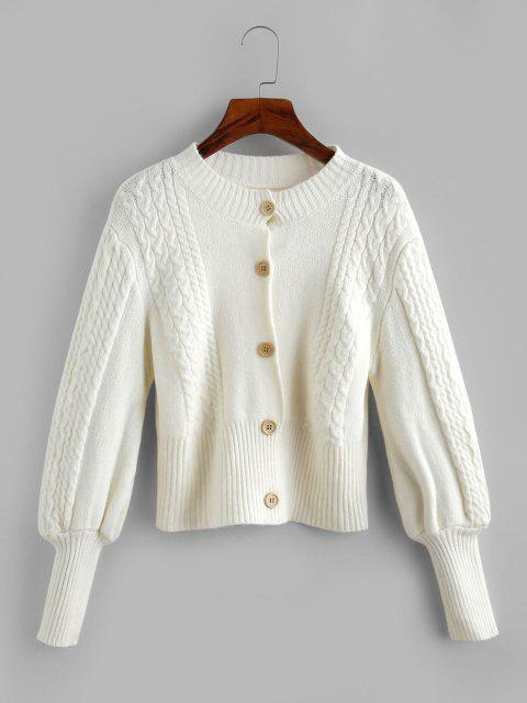 online Cable Knit Balloon Sleeve Short Cardigan - WHITE ONE SIZE Mobile