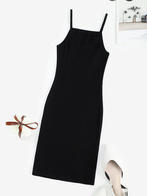 outfits Ribbed Dragon Embroidered Oriental Bodycon Dress - BLACK S Mobile