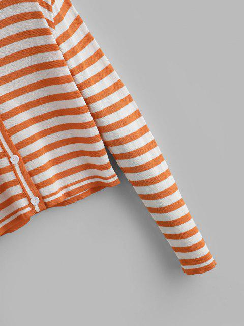 fashion Contrast Short Striped Cardigan - LIGHT ORANGE ONE SIZE Mobile