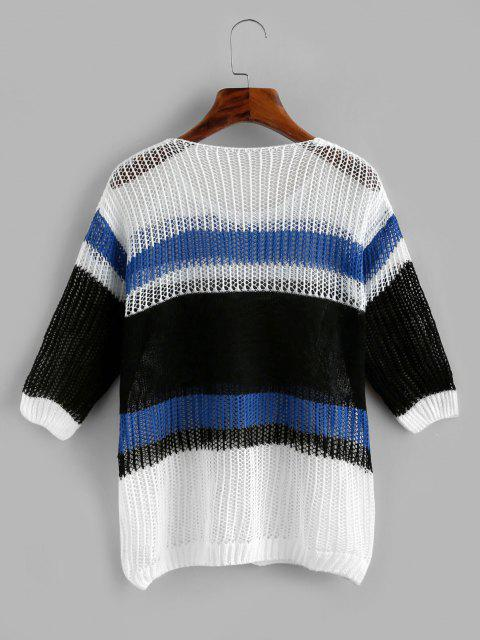 Openwork Drop Shoulder Wide Stripes Sweater - أزرق حجم واحد Mobile