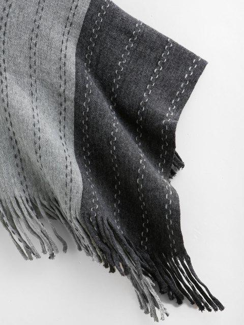 Jersey Poncho Flecos Color Bloque - Gris Oscuro Talla única Mobile