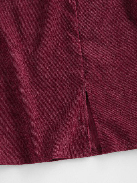 ladies ZAFUL Corduroy Slit A Line Skirt - DEEP RED M Mobile