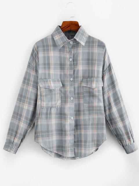 fashion Oversized Long Sleeves Plaid Shirt with Pocket - GRAY ONE SIZE Mobile