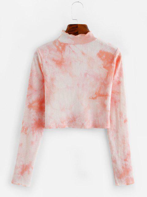 T-shirt com Nervuras da Tintura do Laço Cortado - Rosa Claro L Mobile