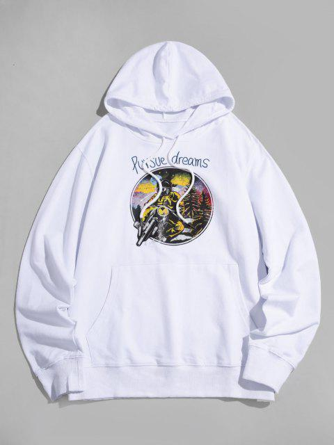new Cool Motorcycle Graphic Pouch Pocket Pullover Hoodie - WHITE XL Mobile