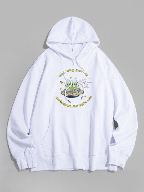 affordable Pullover Aliens In Ship Graphic Front Pocket Hoodie - WHITE XS Mobile