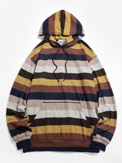 unique ZAFUL Colorblock Striped Knitted Hoodie - MULTI S Mobile