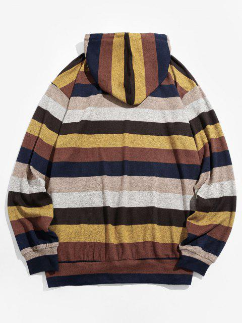 affordable ZAFUL Colorblock Striped Knitted Hoodie - MULTI L Mobile