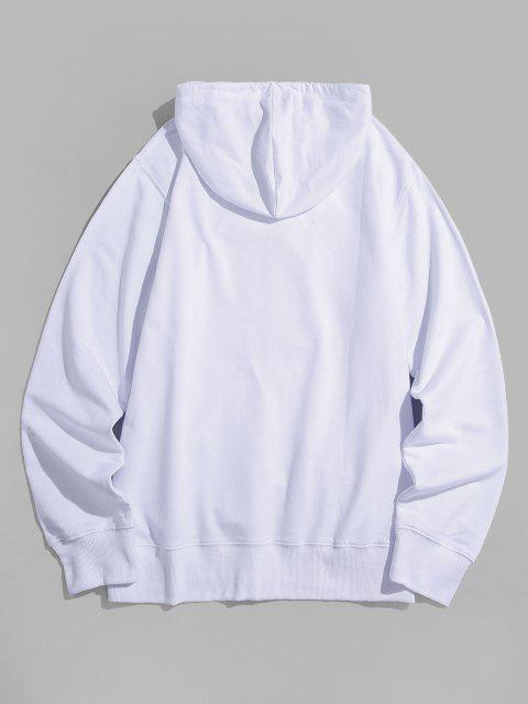 womens Tie Dye Graphic Front Pocket Casual Hoodie - WHITE M Mobile