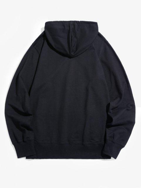 Buchstabe Druck Tasche Kapuze Hoodie - Schwarz XL Mobile