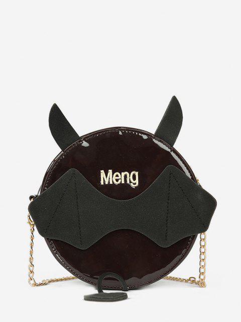 womens Chain Devil Shape Crossbody Canteen Bag - BLACK  Mobile