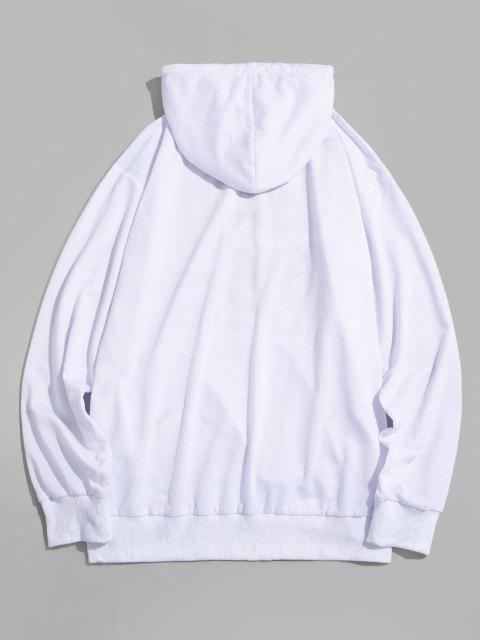 sale ZAFUL Sculpture Graffiti Print Hoodie - WHITE M Mobile