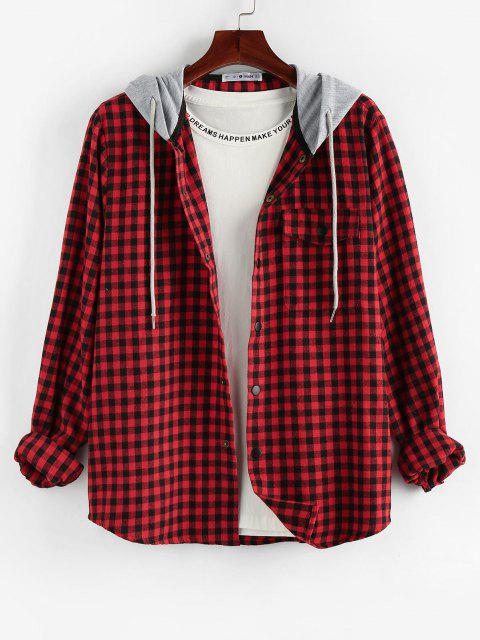 online ZAFUL Plaid Pattern Pocket Colorblock Hooded Shirt - MULTI S Mobile