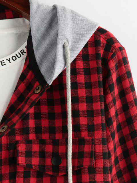 outfit ZAFUL Plaid Pattern Pocket Colorblock Hooded Shirt - MULTI XL Mobile