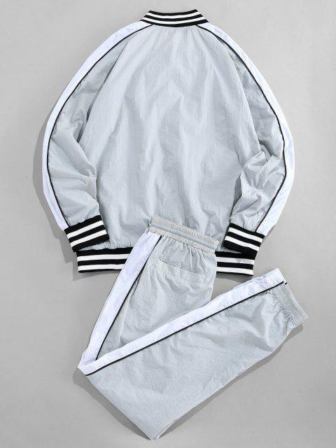 outfit ZAFUL Striped Colorblock Raglan Sleeve Jacket And Pants - MULTI S Mobile