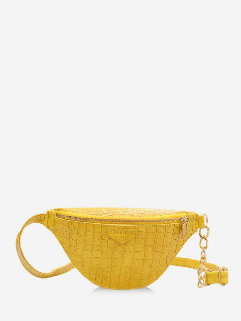 outfits PU Zip Chain Mini Crossbody Bag - SUN YELLOW  Mobile