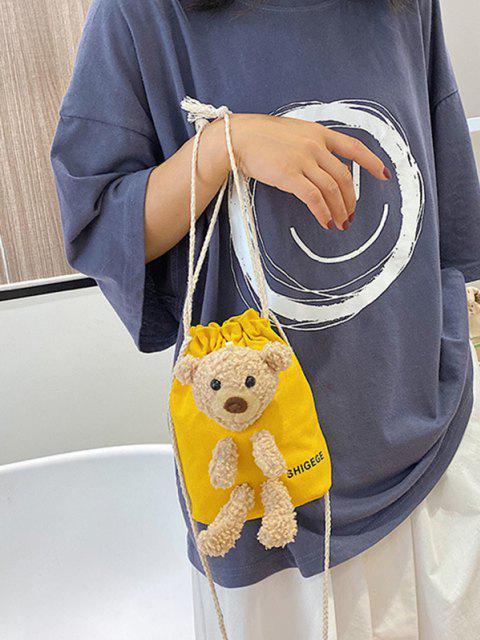 latest Plush Bear Mini Drawstring Bucket Crossbody Bag - SUN YELLOW  Mobile