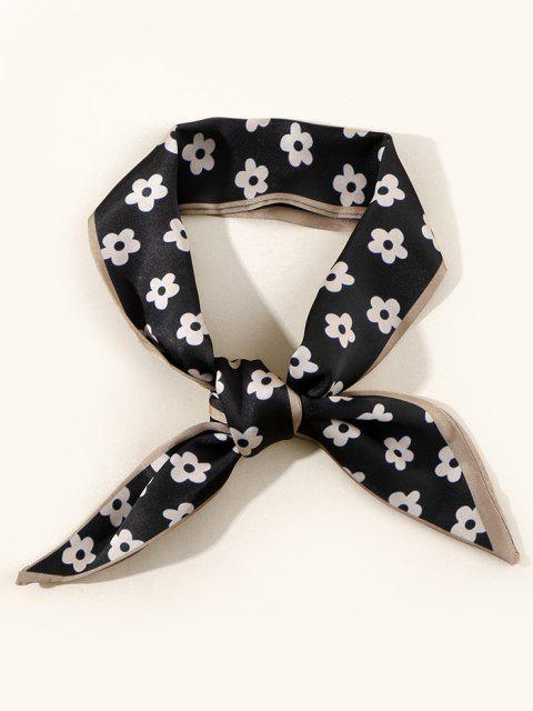chic Tiny Flower Neck Tie Satin Scarf - BLACK  Mobile