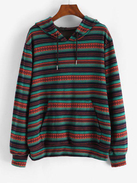Kangaroo Pocket Drawstring Tribal Print Hoodie - أخضر S Mobile