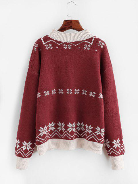 chic Chirstmas Santa Claus Embroidered Snowflake Sweater - RED ONE SIZE Mobile