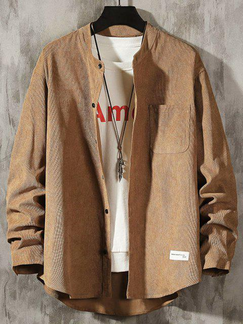 outfit Letter Applique Button Up Corduroy Shirt - LIGHT KHAKI M Mobile