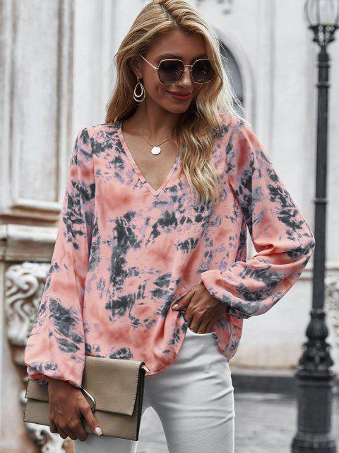 trendy V Neck Tie Dye Lantern Sleeve Blouse - LIGHT PINK S Mobile