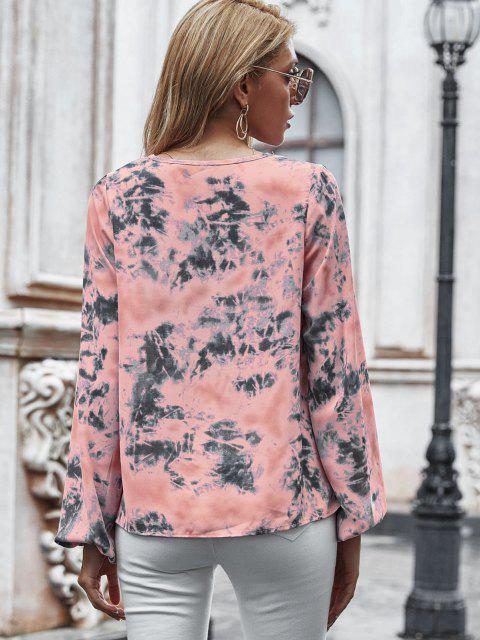 outfit V Neck Tie Dye Lantern Sleeve Blouse - LIGHT PINK L Mobile