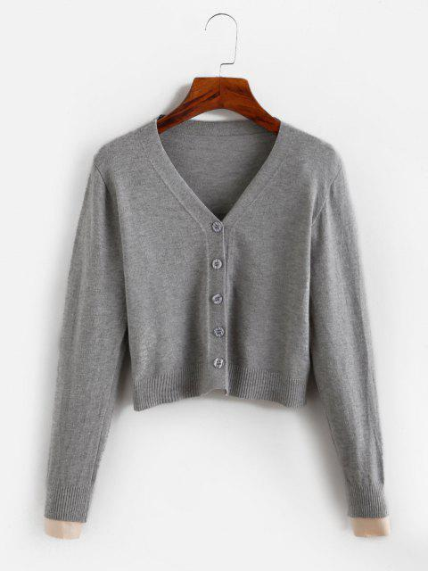 fashion Cropped Button Up V Neck Cardigan - GRAY ONE SIZE Mobile