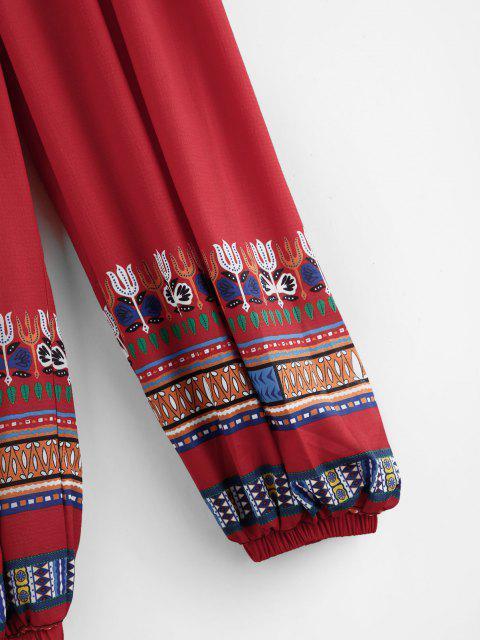 Tribaldruck Elastische Hose mit Hoher Taille - Rot M Mobile
