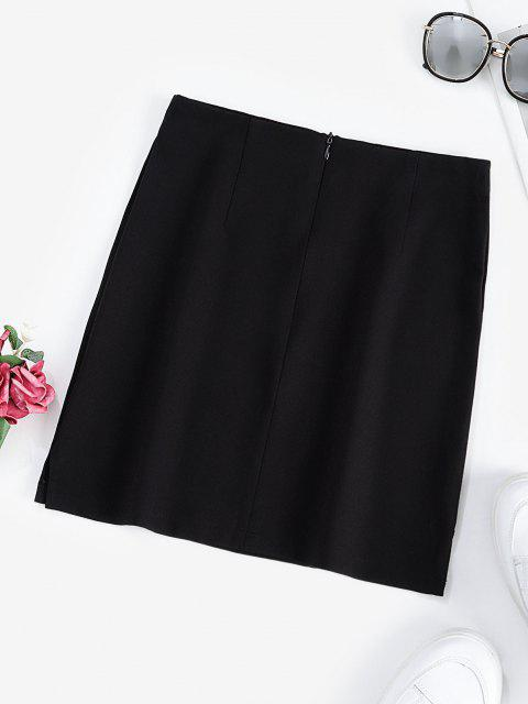 buy Halloween Skull Embroidered Mini Skirt - BLACK L Mobile