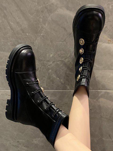 online PU Leather Low Heel Button Ankle Boots - BLACK EU 40 Mobile
