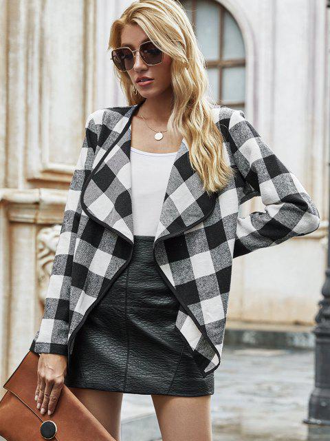 Open Front Wool Blend Plaid Coat - أسود M Mobile