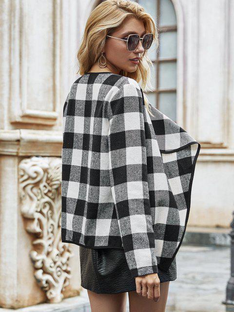 hot Open Front Wool Blend Plaid Coat - BLACK M Mobile
