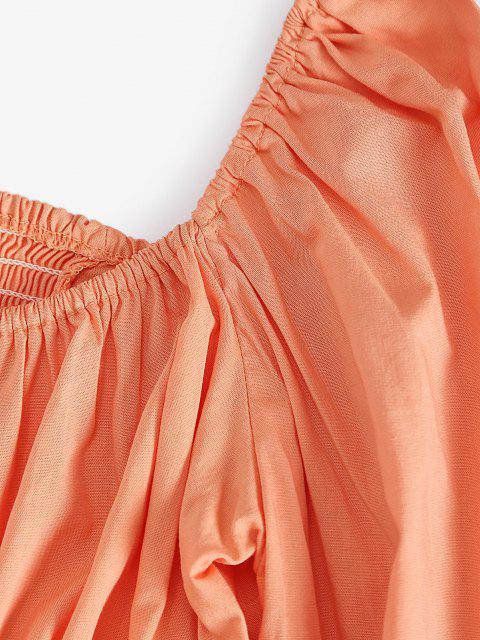 online Puff Sleeve Cinched Front Smocked Back Blouse - PUMPKIN ORANGE M Mobile