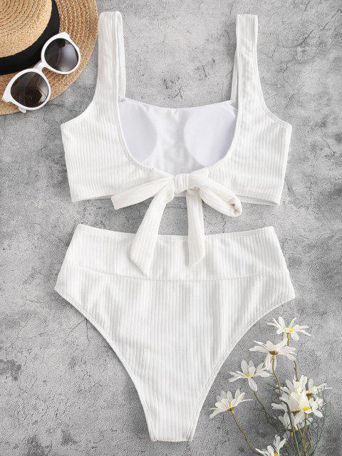 ZAFUL Costume da Bagno Bikini Annodato a Costine con Taglio Alto - Bianca S Mobile