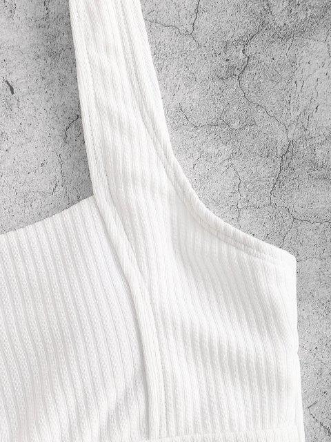 ZAFUL Bikini de Tanque de Corte Alto Anudado - Blanco L Mobile