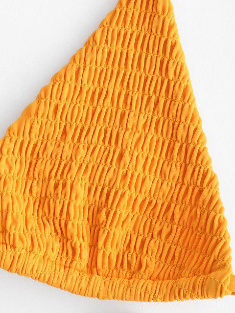 ZAFUL Halfter Blumen Kittel Schnur Bikini Badebekleidung - Gelb S Mobile