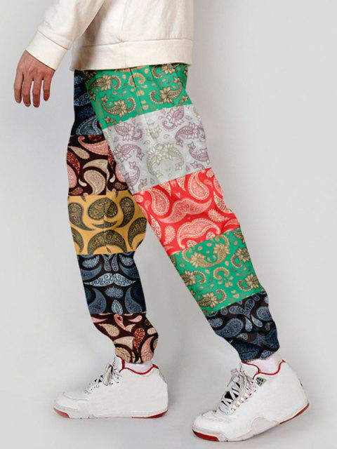 affordable Paisley Floral Print Patch Beam Feet Pants - MULTI-A XS Mobile