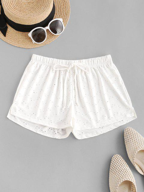 women Tie Waist Eyelet Cover-up Shorts - WHITE ONE SIZE Mobile