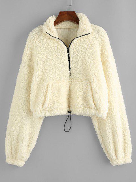 ZAFUL Drop Shoulder Quarter Zip Pocket Teddy Sweatshirt - الأبيض الدافئ XL Mobile