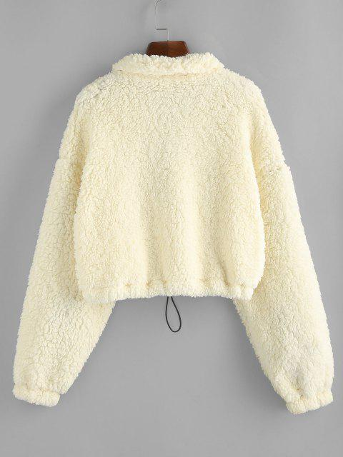 women ZAFUL Drop Shoulder Quarter Zip Pocket Teddy Sweatshirt - WARM WHITE M Mobile