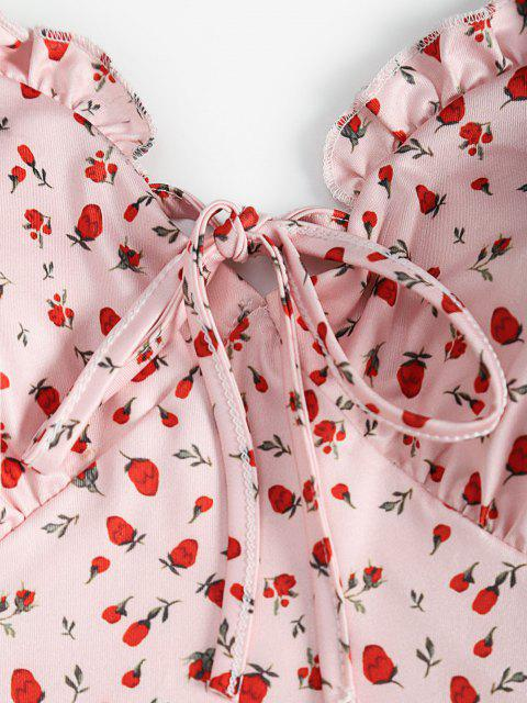 fashion Strawberry Print Ruffle Padded Cami Dress - LIGHT PINK S Mobile