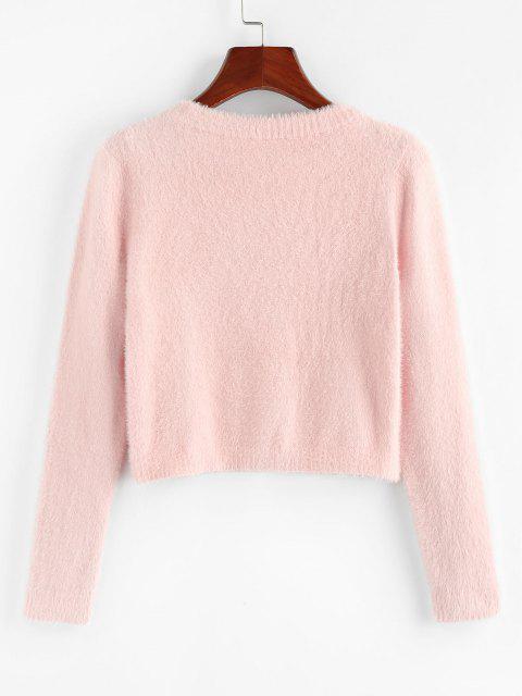 best ZAFUL Fuzzy Knit Snap Button Boxy Cardigan - LIGHT PINK L Mobile