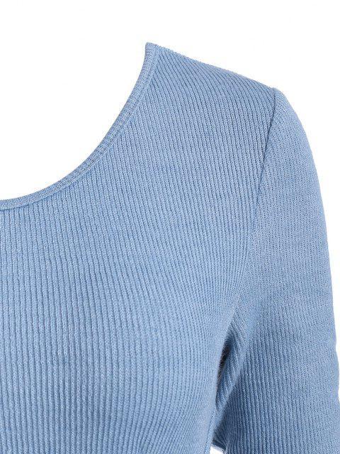 fashion ZAFUL Knitted Underbust Design Bodysuit - BLUE S Mobile