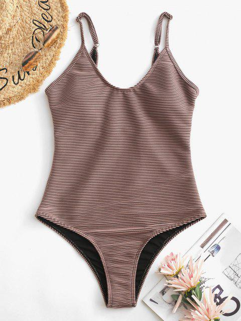 fancy ZAFUL Textured Ribbed One-piece Swimsuit - DEEP COFFEE S Mobile