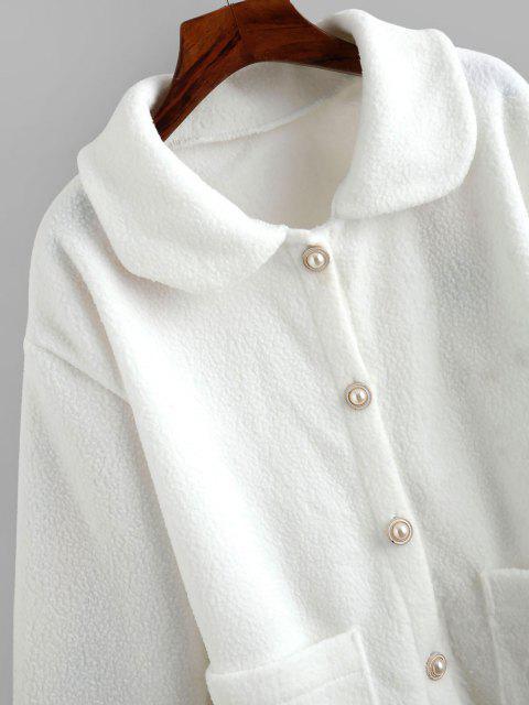 Kunst Pelz Knopf Taschen Mantel - Weiß Eine Größe Mobile
