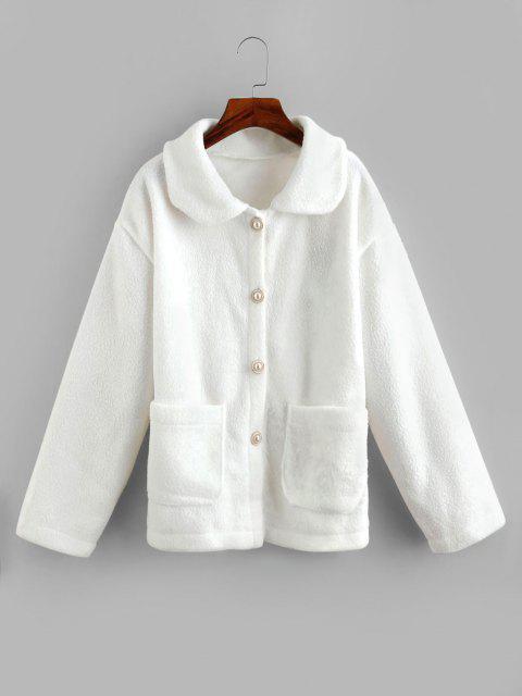 Faux Fur Pocket Button Up Coat - أبيض حجم واحد Mobile