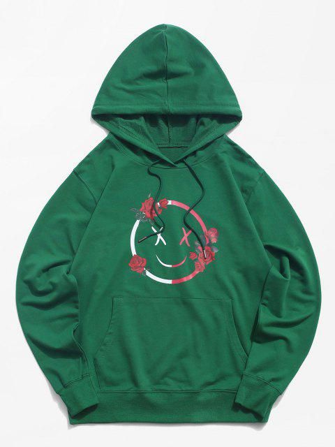buy Funny Face Rose Graphic Hoodie - DEEP GREEN S Mobile