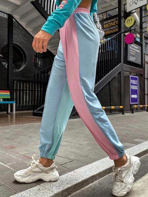 ladies High Waisted Colorblock Jogger Sweatpants - LIGHT BLUE L Mobile