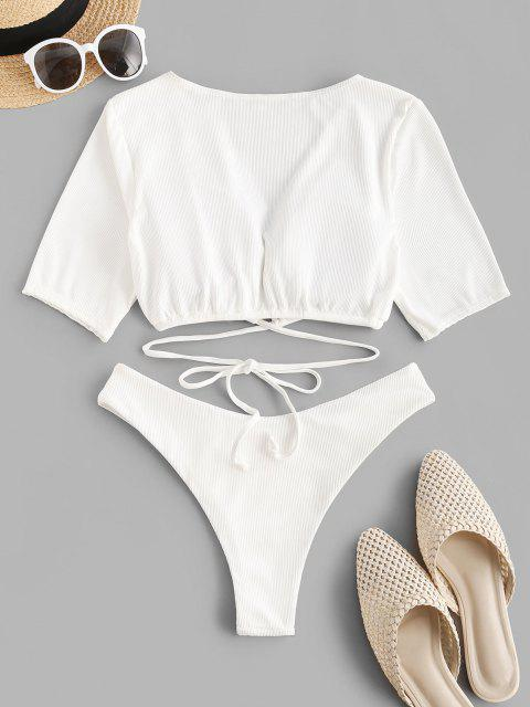 buy ZAFUL Ribbed Tie Two Piece Cropped T Shirt Swimwear - WHITE S Mobile